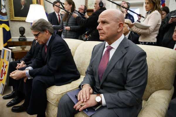 National Security Adviser H.R. McMaster, right, sits with Energy Secretary Rick Perry during a meeting between President Donald Trump and Saudi Crown Prince Mohammed bin Salman in the Oval Office of the White House, Tuesday, March 20, 2018, in Washington. (AP Photo/Evan Vucci)