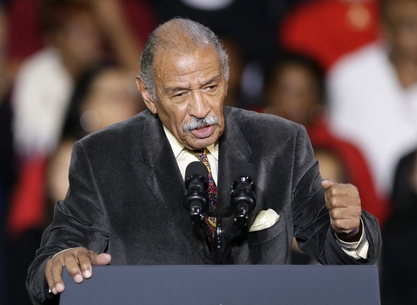 FILE - In this Nov. 1, 2014, file photo, Rep. John Conyers, D-Mich., speaks at Wayne State University in Detroit.