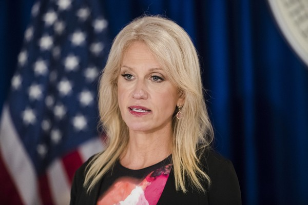 Counselor to the President Kellyanne Conway during a news conference in Trenton, N.J., Monday, Sept. 18, 2017. (AP Photo/Matt Rourke, File)