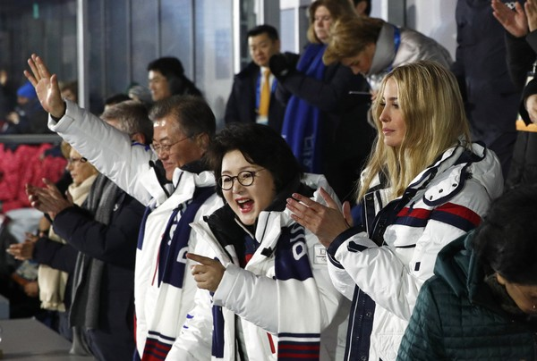 Ivanka Trump, South Korean first lady Kim Jung-sook and South Korean President Moon Jae-in applaud as athletes from North and South Korea walk together at the closing ceremony of the 2018 Winter Olympics in Pyeongchang, South Korea, Sunday, Feb. 25, 2018. (AP Photo/Patrick Semansky, Pool)