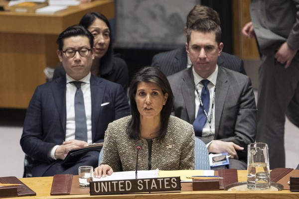 Nikki Haley, U.S. ambassador to the United Nations, speaks during a Security Council meeting on the situation in North Korea, Wednesday, Nov. 29, 2017 at United Nations headquarters.