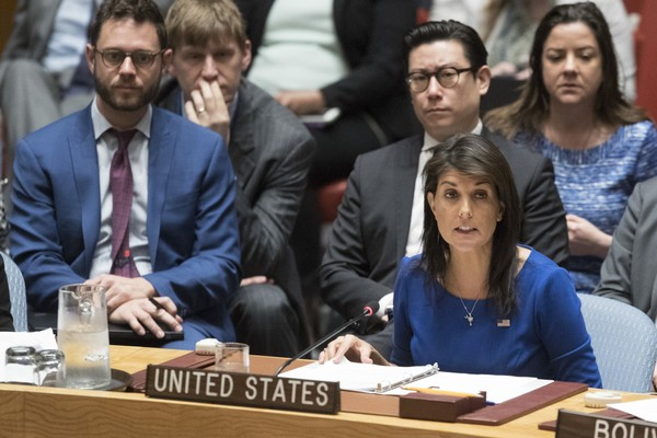 U.S. Ambassador to the United Nations Nikki Haley speaks during a Security Council meeting on the situation in Syria, Saturday, April 14, 2018 at United Nations headquarters.