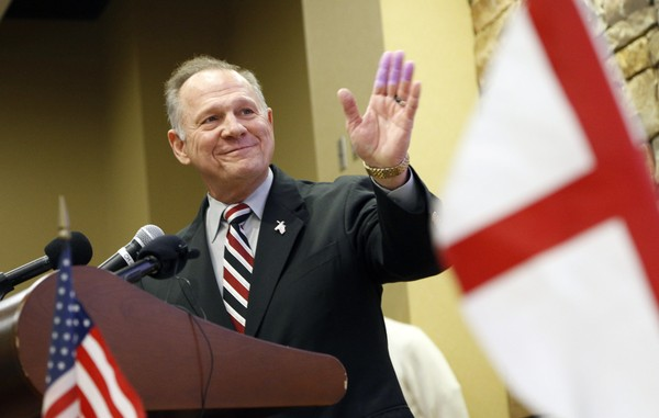 Former Alabama Chief Justice and U.S. Senate candidate Roy Moore speaks at the Vestavia Hills Public library, Saturday, Nov. 11, 2017, in Vestavia Hills, Alabama. (AP Photo/Hal Yeager)