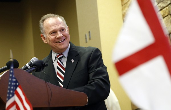 Former Alabama Chief Justice and U.S. Senate candidate Roy Moore speaks at the Vestavia Hills Public library on Saturday, Nov. 11, 2017, in Vestavia Hills, Ala.