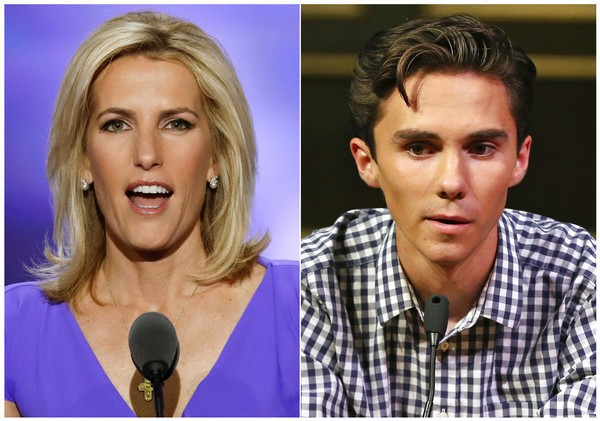 In this combination photo, Fox News personality Laura Ingraham speaks at the Republican National Convention in Cleveland on July 20, 2016, left, and David Hogg, a student survivor from Marjory Stoneman Douglas High School in Parkland, Fla., speaks at a rally for common sense gun legislation in Livingston, N.J. on Feb. 25, 2018. Some big name advertisers are dropping Ingraham after she publicly criticized Hogg, a student at Marjory Stoneman Douglas school on social media. The online home goods store Wayfair, travel website TripAdvisor and Rachel Ray's dog food Nutrish all said they are removing their support from Ingraham. (AP Photo/J. Scott Applewhite, left, and Rich Schultz)(AP)