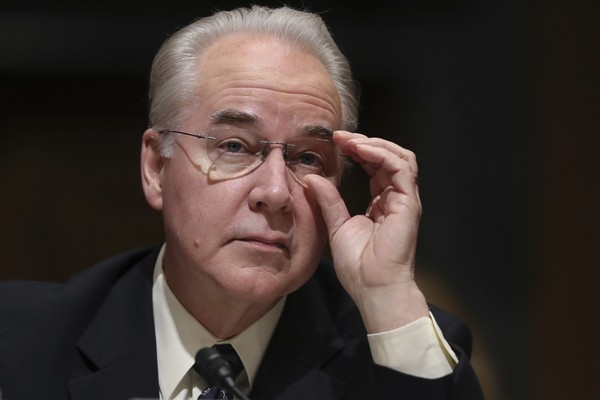 FILE - In this Jan. 24, 2017 file photo, Health and Human Services Secretary, Rep. Tom Price, R-Ga. pauses while testifying on Capitol Hill in Washington at his confirmation hearing before the Senate Finance Committee. (AP Photo/Andrew Harnik, File)
