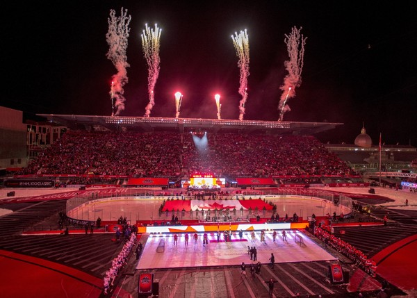 Fireworks go off during the ceremonies before hockey action between the Ottawa Senators and Montreal Canadiens at the NHL 100 Classic, in Ottawa on Saturday, Dec. 16, 2017. (Sean Kilpatrick/The Canadian Press via AP)
