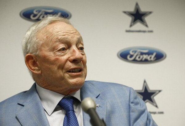 Dallas Cowboys owner Jerry Jones speaks after an NFL football game against the,Arizona Cardinals, Monday, Sept. 25, 2017, in Glendale, Ariz. (AP Photo/Ross D. Franklin)