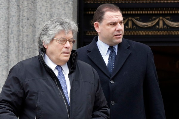 Joseph Percoco, right, a former Huguenot resident and a former top aide to New York Gov. Andrew Cuomo accused of bribery, leaves Federal court with his lawyer Barry Bohrer, in New York, Monday, March 12, 2018. (Associated Press)