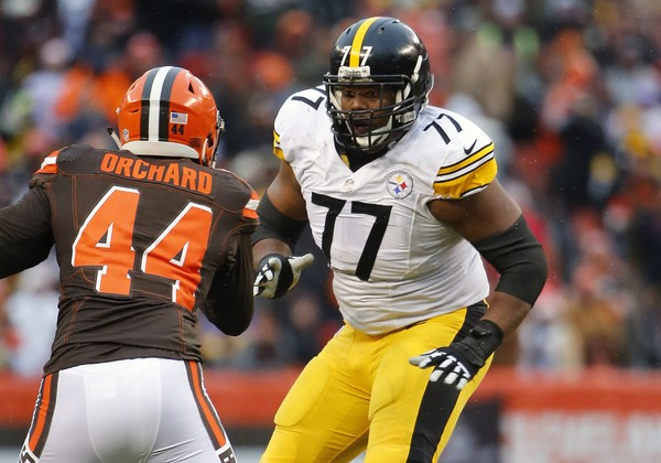 Steelers tackle Marcus Gilbert (hamstring) again did not practice with the team on Thursday, which was otherwise a good day for Pittsburgh on the health front.   He is shown here during a game against the Cleveland Browns in Cleveland, Ohio Sunday, Jan. 3, 2016. (Winslow Townson/AP Images for Panini)