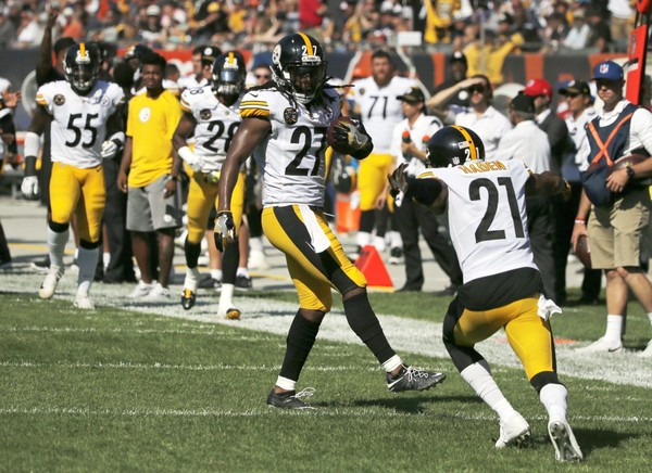 Steelers safety J.J. Wilcox has had more of his practice reps focused on strong safety ahead of Pittsburgh's Week 6 kickoff with the Kansas City Chiefs.  Here, he celebrates an interception with cornerback Joe Haden (21) during the second half of an NFL football game against the Chicago Bears, Sunday, Sept. 24, 2017, in Chicago. (AP Photo/Charles Rex Arbogast)
