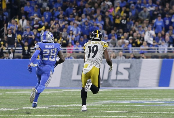 JuJu Smith-Schuster, Quandre Diggs, Steelers vs Lions