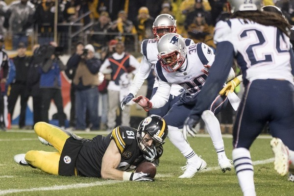 "Jesse James drops the ball as he goes to ground against the New England Patriots in what would've been the game-winning touchdown in Week 15. Upon review, James was ruled not to have ""survived the ground."" Art Rooney II agrees with the call under the current set of NFL rules, but wants them to change."