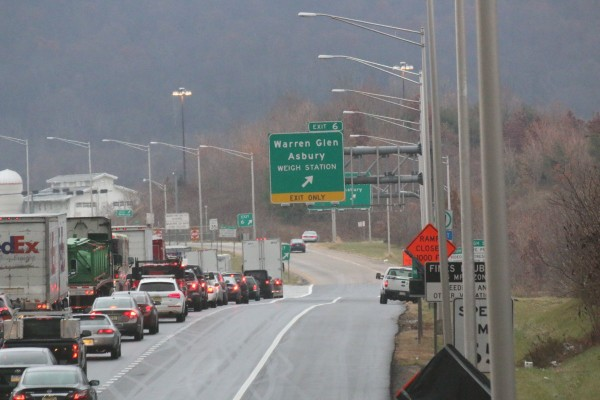 Traffic backed up the morning of Dec. 5, 2017, on Interstate 78 East near the weigh station in Greenwich Township after a four-vehicle cross-over crash took the life of a 48-year-old Phillipsburg woman. (Dave Dabour | lehighvalleylive.com contributor)