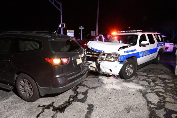 A Hunterdon Medical Center Mobile Intensive Care Unit was involved in a two-venice crash at 6:39 p.m. Dec. 6, 2017, near Red School Lane and Baltimore streets in Lopatcong Township. (Rich Maxwell | lehighvalleylive.com contributor)