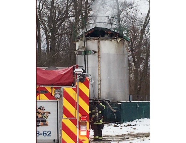An asphalt tower caught fire Dec. 15, 2017, at Garden State Asphalt in Hackettstown.