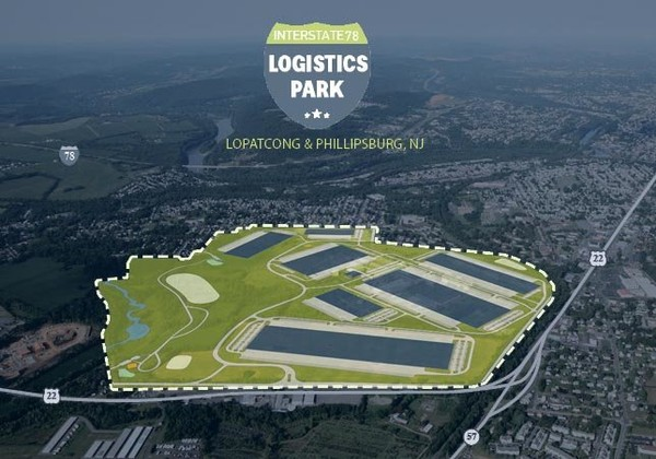 A graphic shows plans for a warehouse at the I-78 Logistics Park in Phillipsburg and Lopatcong Township.