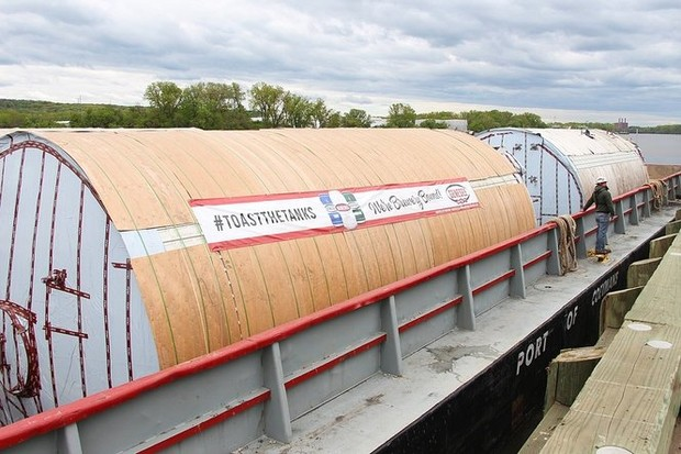High water delays Erie Canal journey for giant Genesee beer tanks