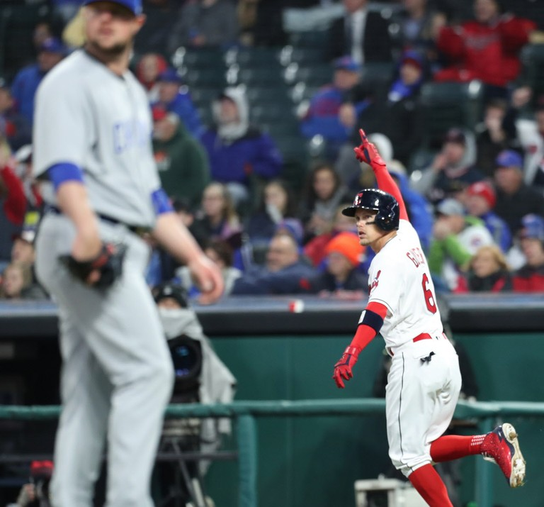 Indians' home runs beat Cubs, 4-1; Andrew Miller hurt